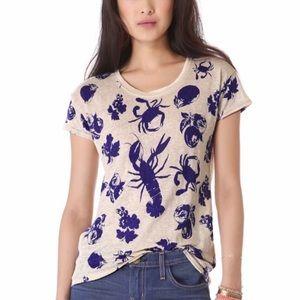NWOT Madewell Blue Beige Linen Print T-Shirt XS